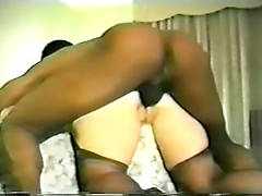 Butt fucked wife in a hotel room gives an ass to mouth blowjob