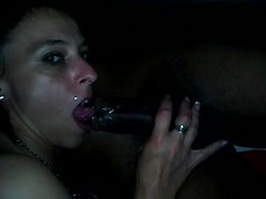 Hubby films from a foot away as his wife sucks BBC with her wet mouth