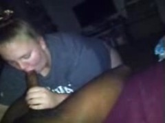 A fat slut on her knees worships big black cock with incredible passion