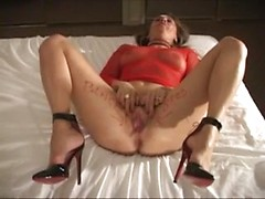 High heels and a collar look sexy on the married white girl taking an interracial creampie
