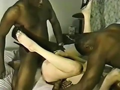 Great wife sharing videos with naughty slut double fucked with two black cocks