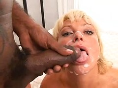Big black cock spews jizz on nasty wife on wife sex tube